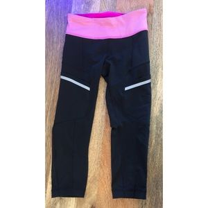 Lululemon Black Crop Tights with Pink Band